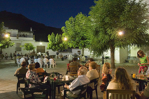 Summer night events in Bubion main square