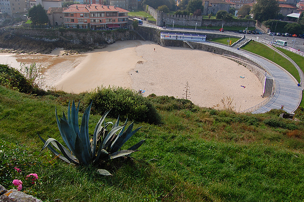 Urban beach in the coastal town of Llanes