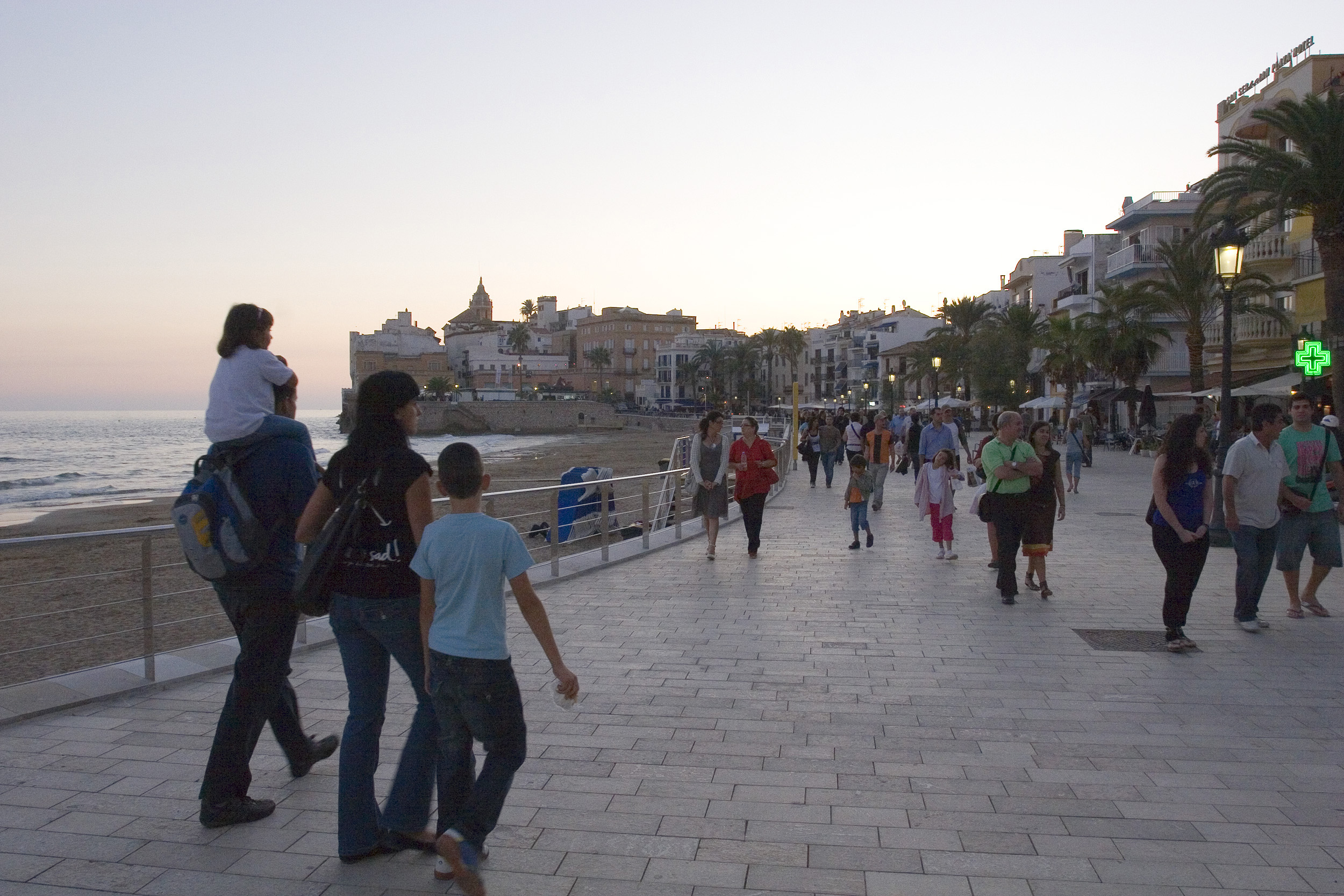 Busy and trendy coastal town of Sitges