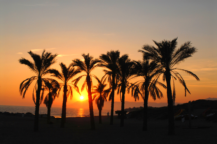 Sunset on one of Malaga´s city beach