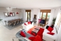Open plan living / dining area with doors to terrace